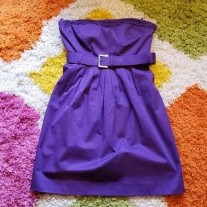 Purple Pleated Dress w/ Pockets